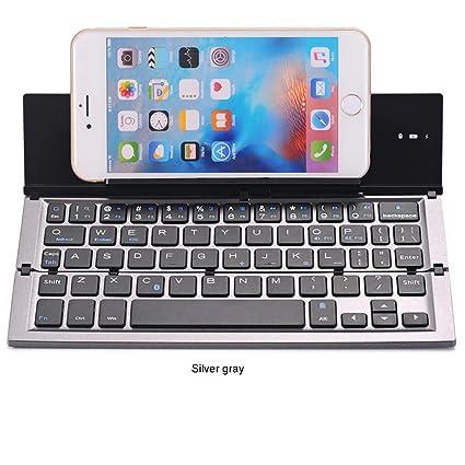 Teclado Plegable, Teclado Inalámbrico Portátil Delgado Bluetooth, Soporte De Aleación De Aluminio Con Universal