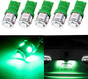 Frontl T10 LED Dash Light Bulbs Green 5-5050 SMD LED Bulbs 194 168 LED Light Bulbs Instrument Panel Gauge Cluster Indicator Lights,5Pack