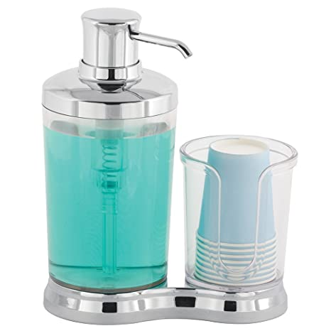 mDesign Set para higiene bucal - Dosificador de enjuague bucal con dispensador de vasos desechables incorporado