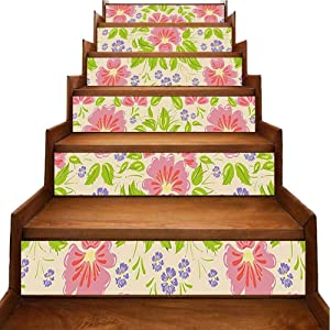 Stair Decals Floral Seamless Background with Flowers and Leaf Artwork Violet Light Pink and Apple Self-Adhesive Backsplash Stickers Peel Off & Stick Wallpaper Home Decor, W39.3 x H7 inch