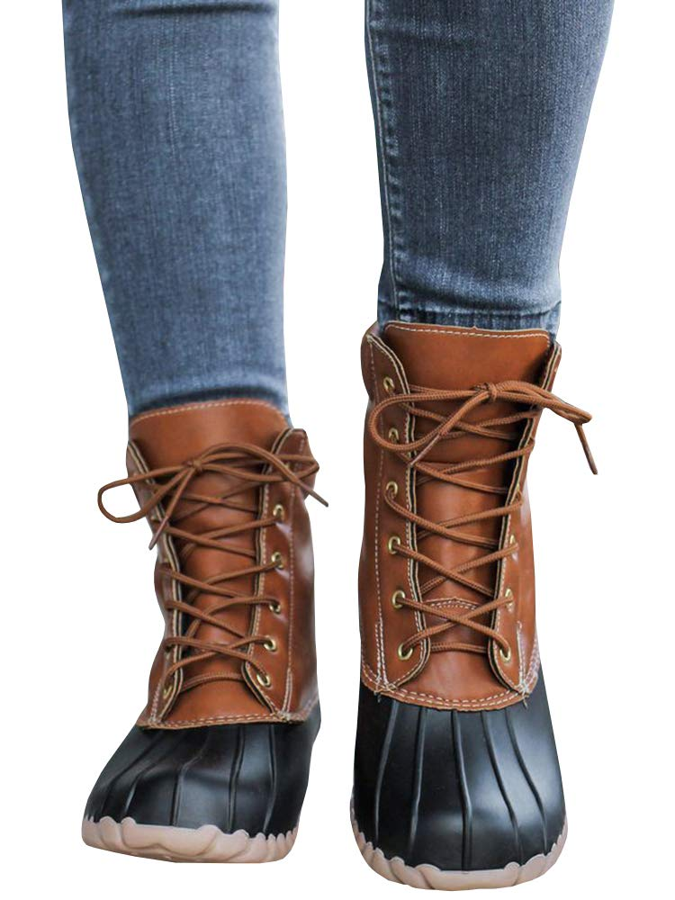 Womens Lace up Duck Boots Waterproof Low Heel Wide Calf Winter Warm Snow Rain Shoes