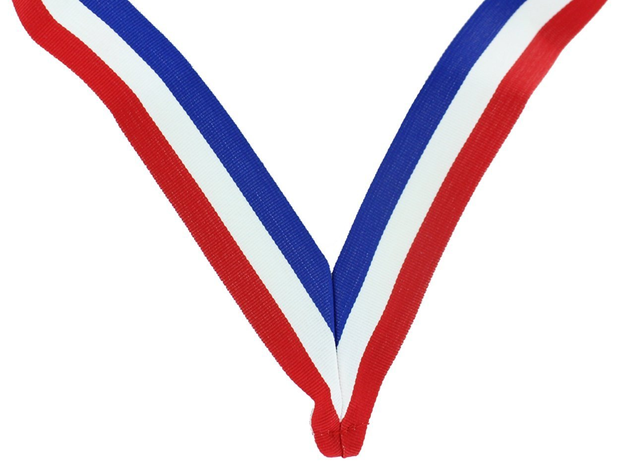 33 x 1-3/8 Inch Red, White and Blue Neck Ribbon with Jump Ring - Pack of 40