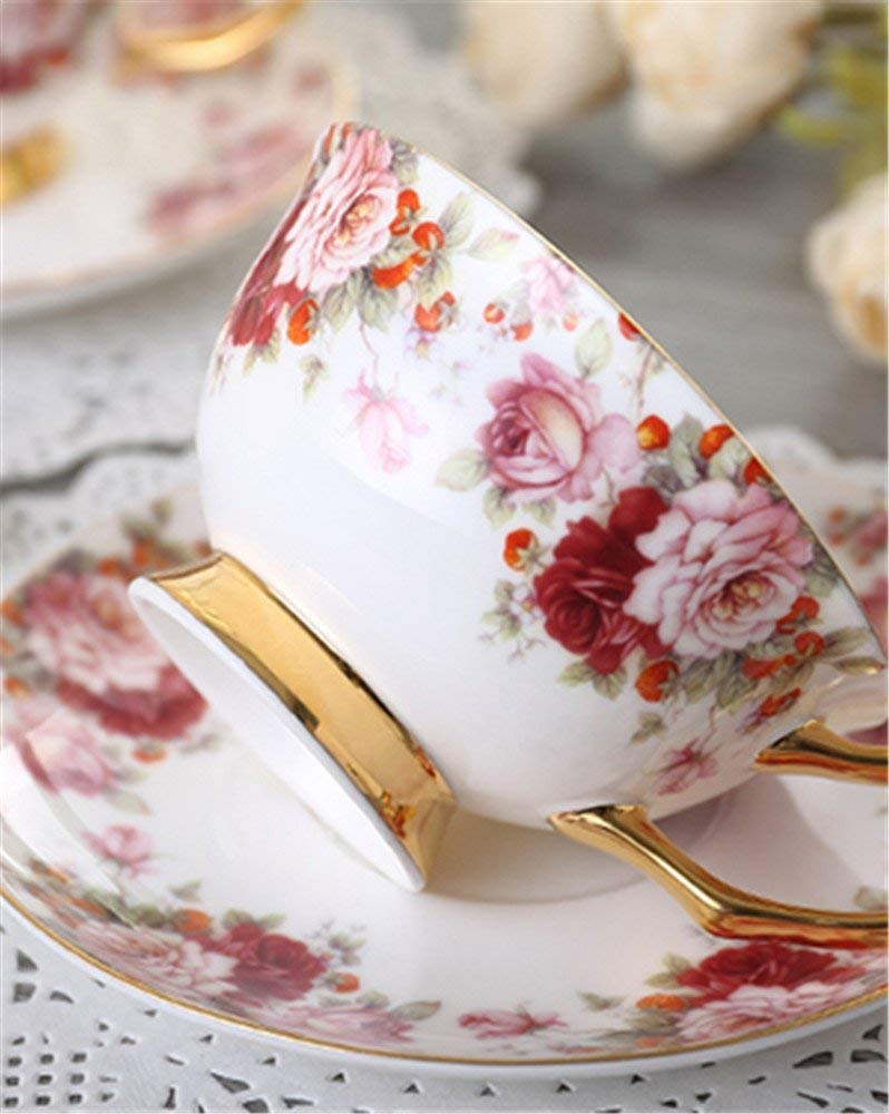 Bone China Ceramic 6-sets Tea Cup Coffee Cup,Flower,Red