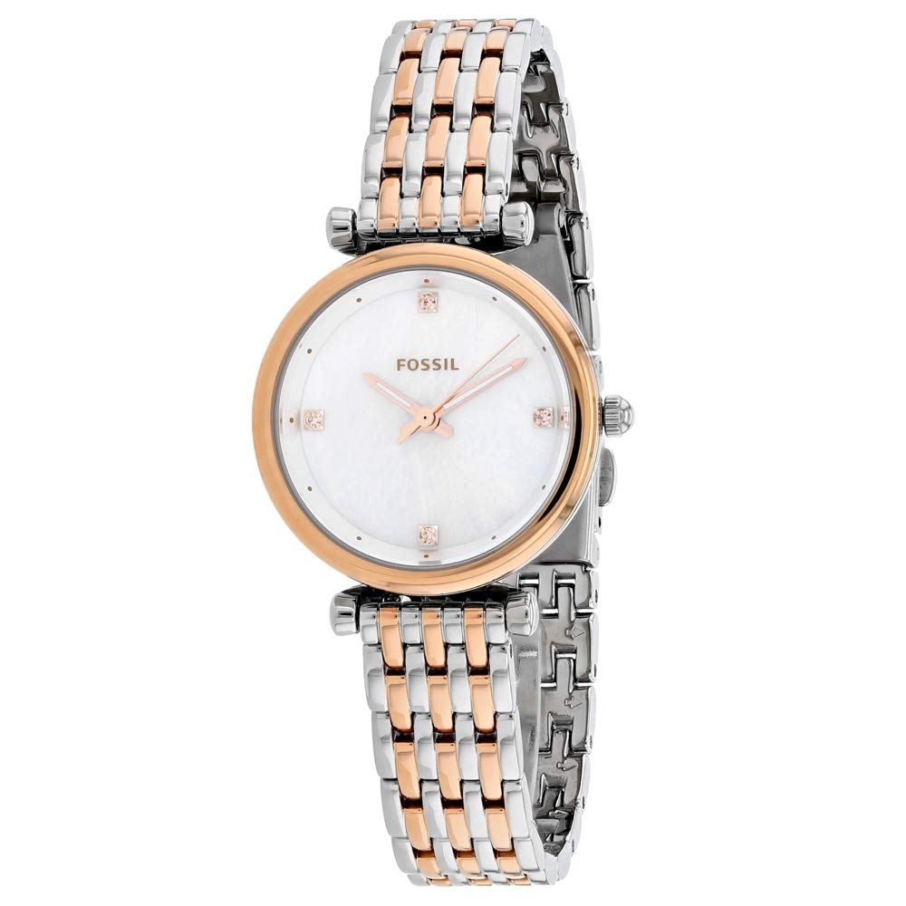 Fossil Women's Carlie Stainless Steel Quartz Watch Strap, Two Tone, 12 (Model: ES4431) by Fossil