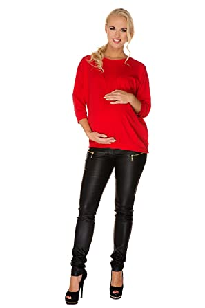 0205a18a95629 My Tummy Maternity Trousers Pants Janis Leather Look Black: Amazon.co.uk:  Clothing