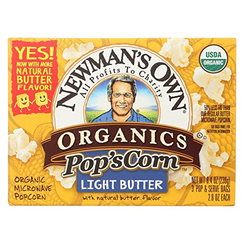 Newman's Own Organics Microwave Popcorn - Light Butter - 8.4 ()