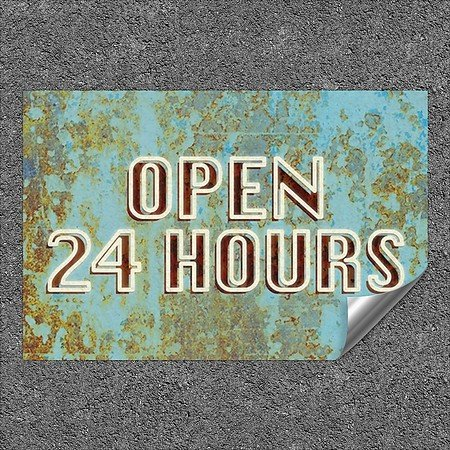 CGSignLab |''Open 24 Hours -Ghost Aged Blue'' Heavy-Duty Industrial Self-Adhesive Aluminum Wall Decal | 36''x24''