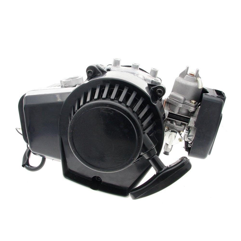 2 Stroke Pull Start Engine Motor 49cc Mini Pocket PIT Quad ATV Dirt Bike Scooter (Silver)