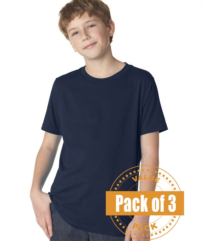 Next Level Boys Boys' Short-sleeve Fine Jersey Crew 3310-Midnight Navy-Large (3 Pack)