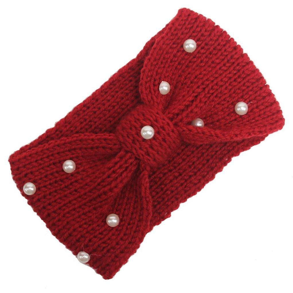 BZLine-Bandeau Bowtie Pearl Hairband-Femmes- Laine à tricoter BZL-01