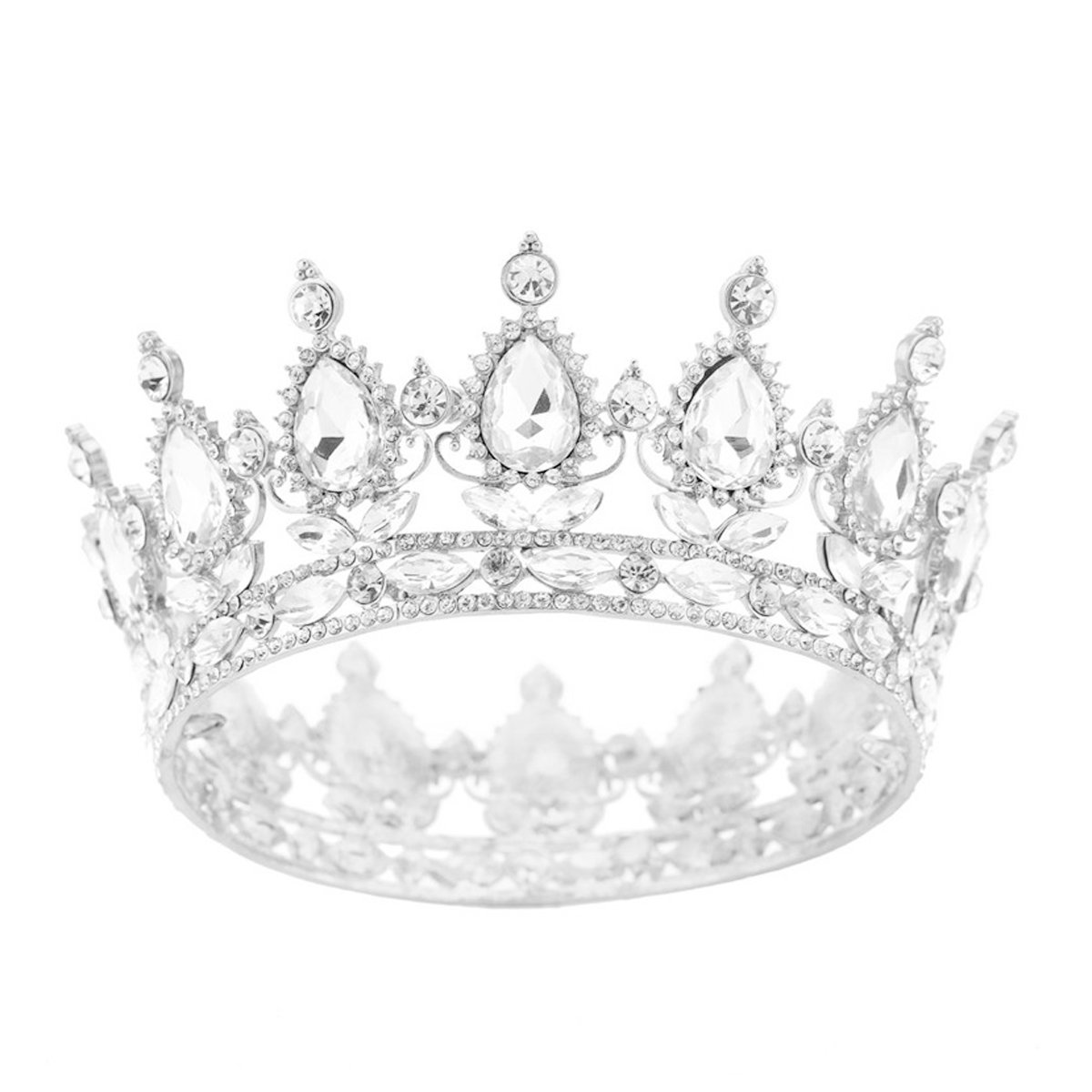 SSNUOY Silver Diamond Shape Tiaras for Brides Pageant Queen Crowns Prom Wedding Headband