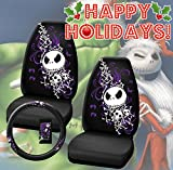 jack and sally car seat covers - Premium Two Officially Licensed Universal Fit Highback Seat Covers w/ Steering Wheel Cover - Nightmare Before Christmas Bones