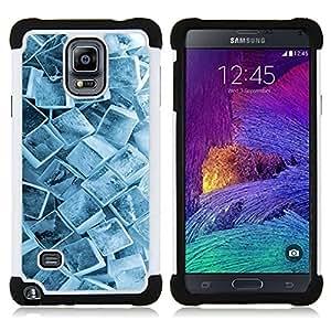 Dragon Case- Dise?¡Ào de doble capa pata de cabra Tuff Impacto Armor h??brido de goma suave de silicona cubierta d FOR Samsung Galaxy Note 4 SM-N910 N910- WINTER PATTERN ICE COOL SNOW CRYSTALS CUBE