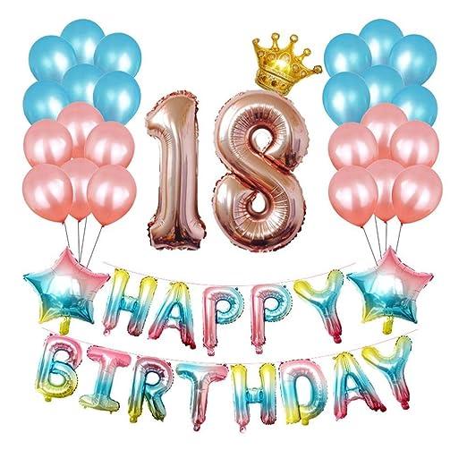 Auroru - Adornos de fiesta de cumpleaños degradados de 16 ...