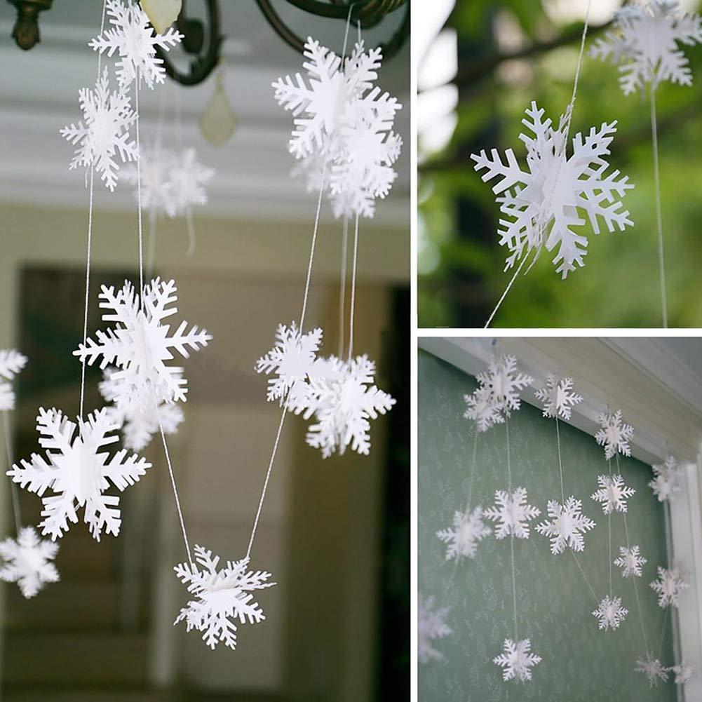 SWIDUUK seawood Hanging Snowflake Garland Ornament Frozen Winter Wonderland Xmas Party Decor White