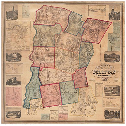 sullivan-county-nh-1860-map-wall-map-with-homeowner-names-new-hampshire-old-map-reprint