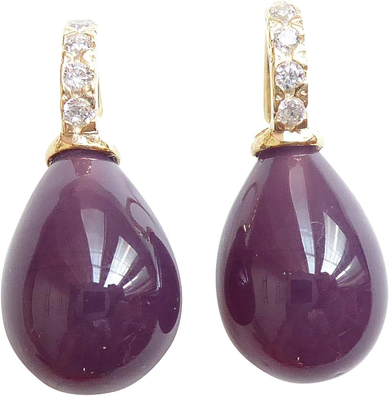 Pendientes de cristal de color lila con forma de gota de color berenjena, de plata de ley chapada en oro con circonitas de diseño Heide Heinzendorff Prime.