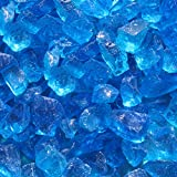 Blue Ridge Brand&Trade; Light Blue Fire Glass - 20-Pound Professional Grade Fire Pit Glass - 1/2'' Glass Rocks for Fire Pit and Landscaping