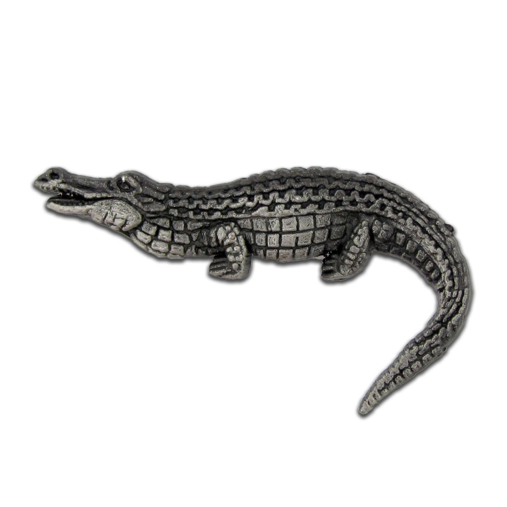 PinMart's Antique Silver Alligator Zoo Animal Lover Lapel Pin