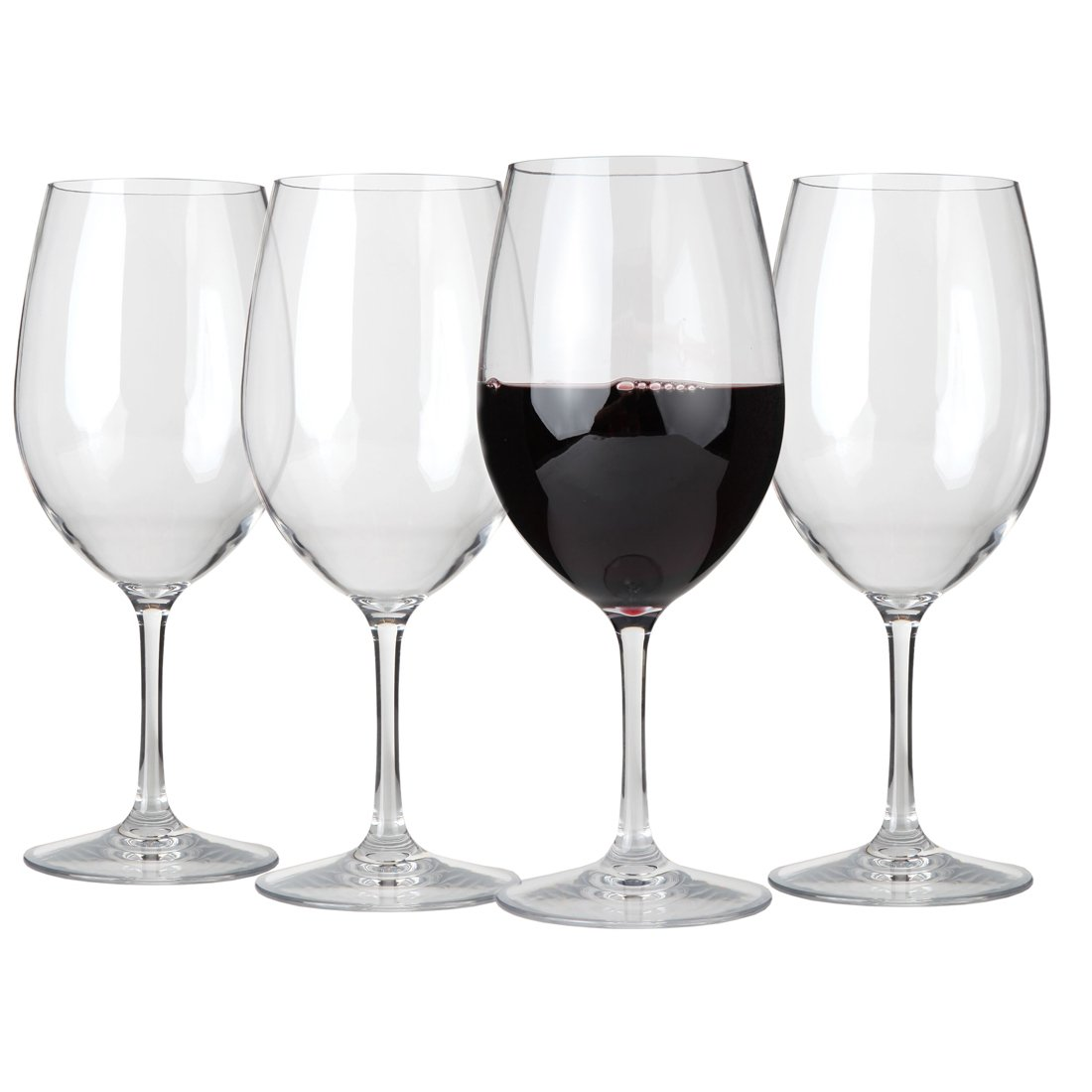 Lily's Home Unbreakable Cabernet and Merlot Bordeaux Red Wine Glasses, Made of Shatterproof Tritan Plastic, Ideal for Indoor and Outdoor Use, Reusable and Dishwasher-Safe, Crystal Clear (20 oz. Each, Set of 4)