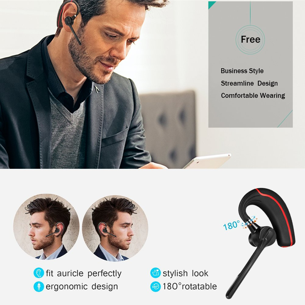 Bluetooth Headset, Earpiece with Mic Mute Switch for Trucker, Handsfree Bluetooth Headphone Wireless 4.1 Headset Earphone Compatible for iPhone Android Cellphone[+Portable Storage Case] (Black) (Red-version)