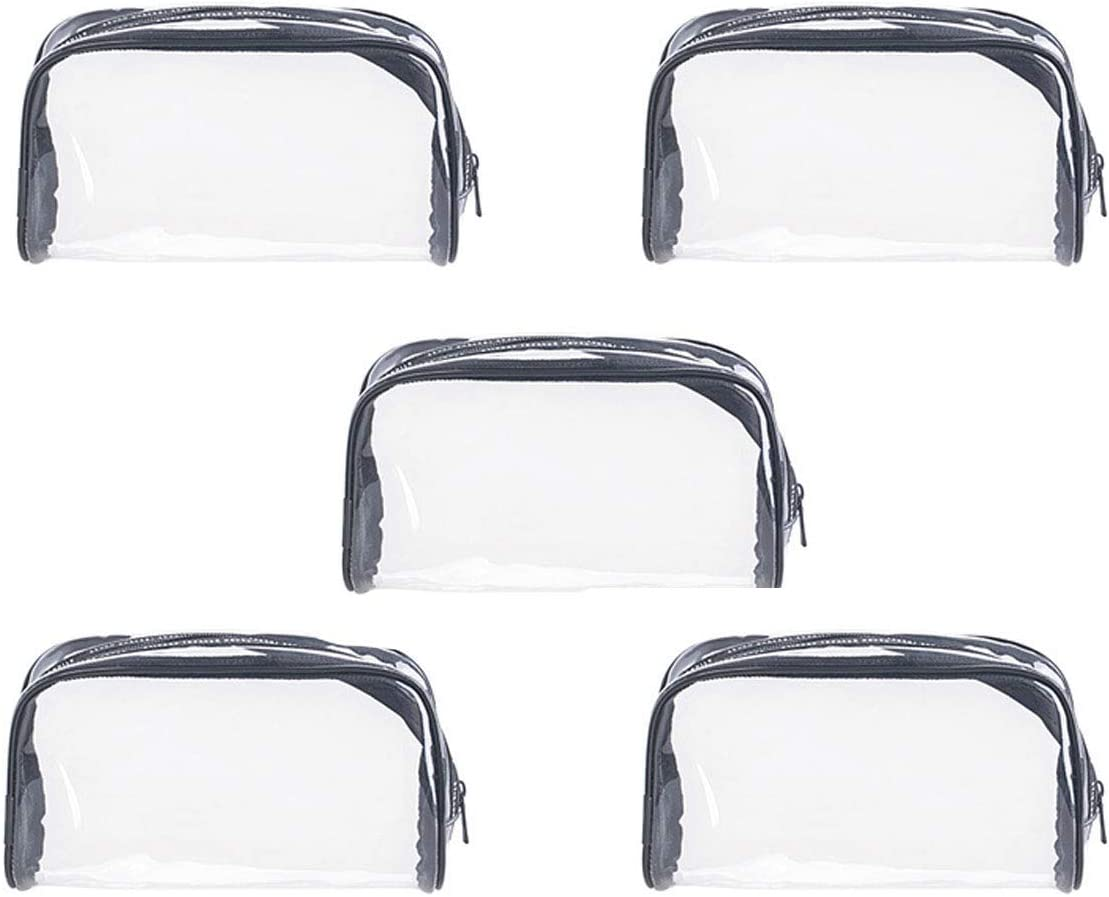 Bluemeow 5 PCS Bolsa de artículos de tocador Transparente con Cremallera Bolsa de Organizador cosmética Impermeable de PVC Bolsa de Equipaje de Transporte de Viaje Bolsas de Almacenamiento de maquill