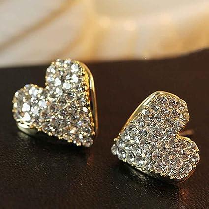 927734763be2 Amazon.com  Topfire 1 Pair Crystal Peach Heart Stud Earrings Women ...
