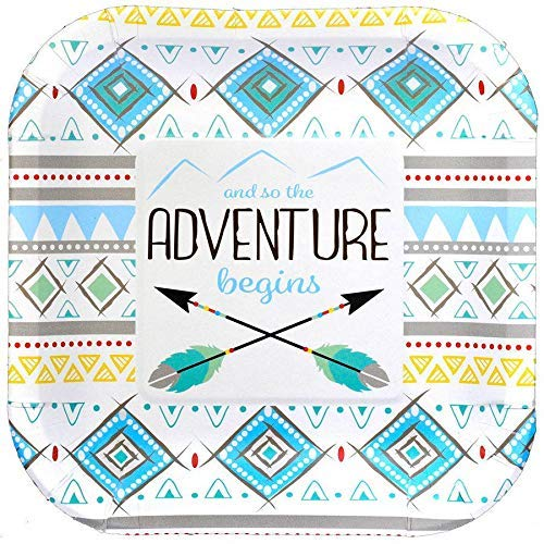 Arrow Plates - Havercamp Adventure Begins Boys Birthday Party Plates - Tribal Pattern Adventure Begins Party Plates for Baby Showers, Gender Reveal & Birthday Party Supplies - Pack of 8, 7