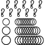 SENHAI 30Pcs Metal Flat Key Rings, 3 Sizes, 10Pcs Mini SF Carabiners Spring Snap Clasps for Climbing Camping Survival…
