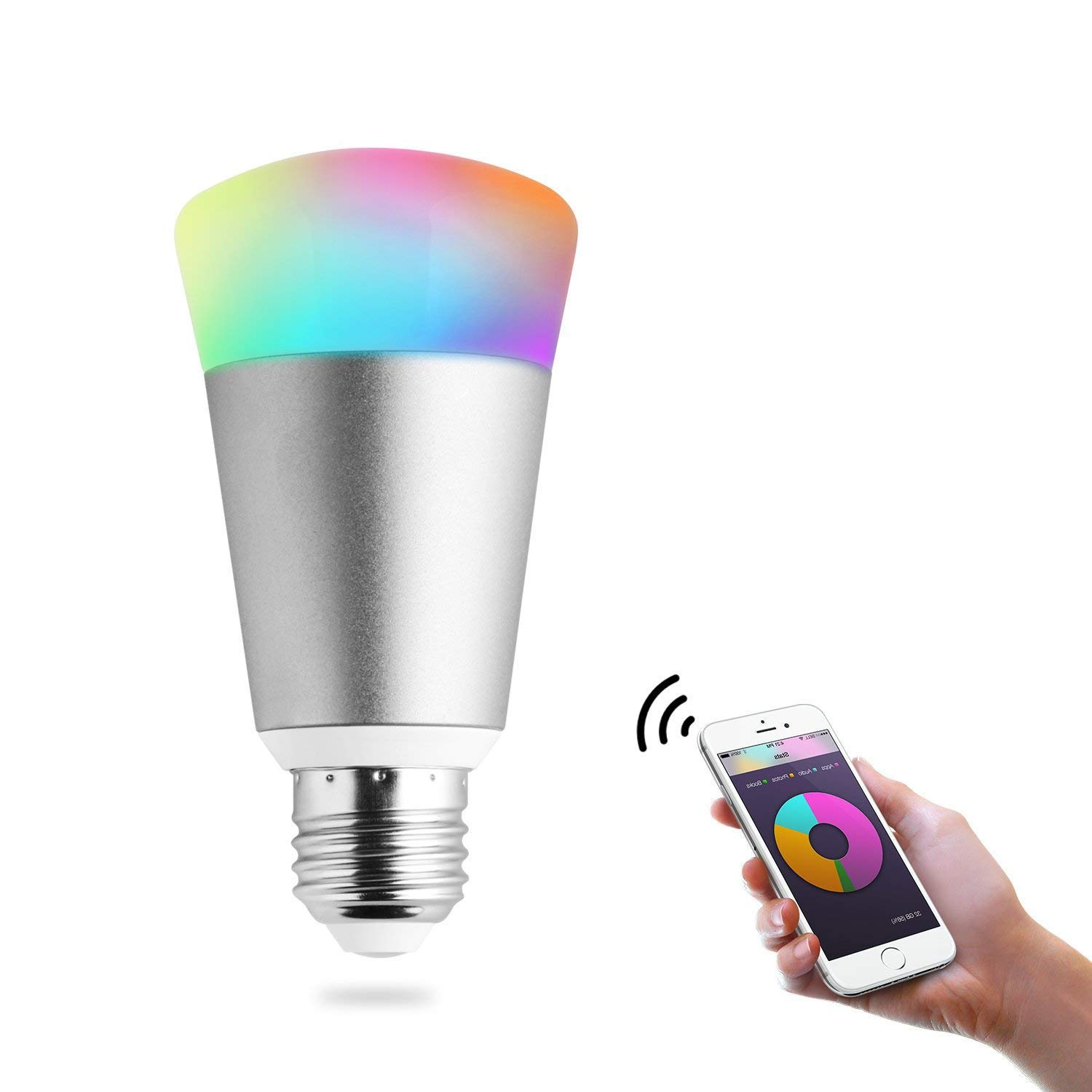 Light Bulbs WiFi Smart Led Bulb,Party Bulb Wireless lamp Work with Amazon Echo dot & Google Home, Dimmable Multicolored Color Changing, iOS & Android Smartphone Remote Control (7W,Silver