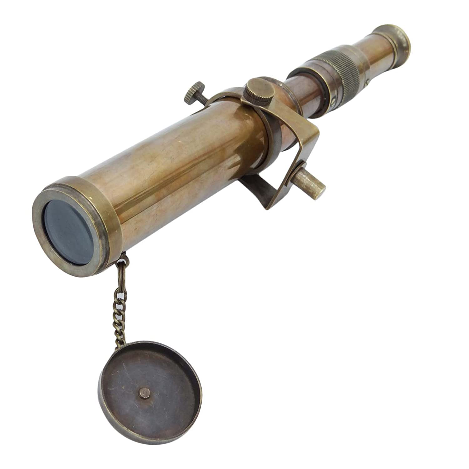 Maritime Telescopes Polished Brass Nautical Brass Telescope Pirate Spyglass Marine With Leather Deco