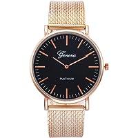 Metal Casual Watches Womens Men Geneva Womens Classic Quartz Stainless Steel Wrist Watch Bracelet Watches - Gold Band Black Surface