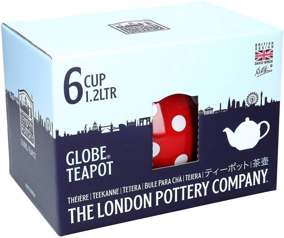 Rojo//Blanco London Pottery Tetera con colador Globe 6 Cup cer/ámica 1.2 Litre