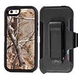 Tecoffer Heavy Duty Hunting Tough Camo Tree Shockproof Dirtproof Defender Case Cover with Belt Clip Holster for Iphone 5 5S - Black tree