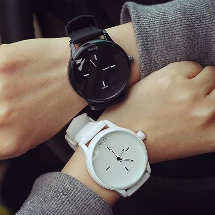 ZNCD Europa América Tendencia Reloj De Mujer Pareja 2 Piezas Estilo Harajuku Esfera Grande Simple Blanco