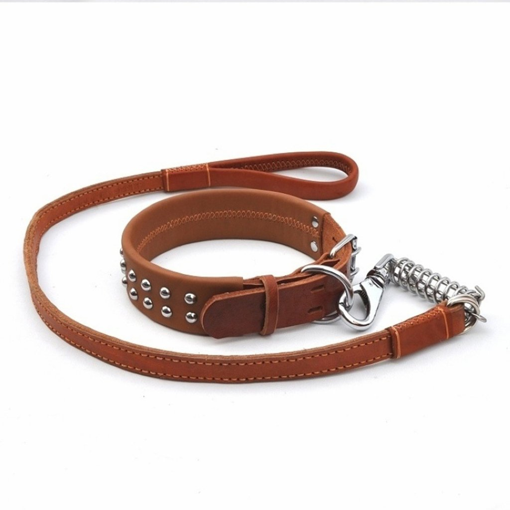 3 LYYL777 Heavy Chewing Metal Basic Dog Chain Lead Belt Thick Leather Suitable For Medium Dogs (color     3)