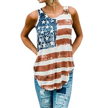 192392f4d18 lotus.flower 2018 Women Print Fashion Womens Patriotic Sleeveless Vest  Stripes Star Asymmetric American Flag