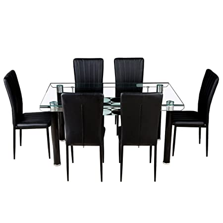 Woodness Vatican Glass 6 Seater Dining Table Set (Black)