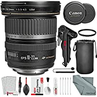 Canon EF-S 10-22mm f/3.5-4.5 USM Lens and Xpix Basic Bundle w/UV Filter + Tripod + Deluxe Cleaning Kit