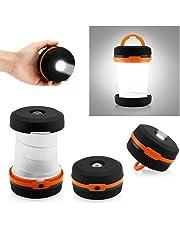 ASPECTEK Linterna de Camping, 2-en-1, Portátil Plegable Para Interiores y Exteriores, Linterna Para Acampar Con Manija, Resistente al Agua y con Pilas
