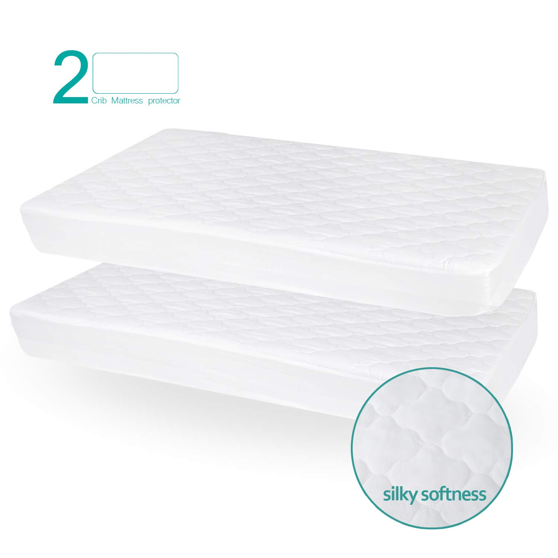 Biloban Crib Mattress Protector Waterproof (2 Pack), for 52'' × 28'' Standard Crib, Ultra Soft Toddler Mattress Protector, White by Biloban