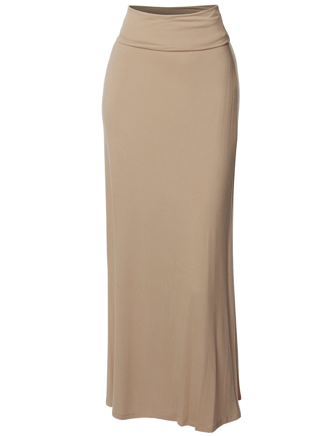 Stylish Fold Over Flare Long Maxi Skirt - Made in USA Beige M by Made by Emma (Image #3)