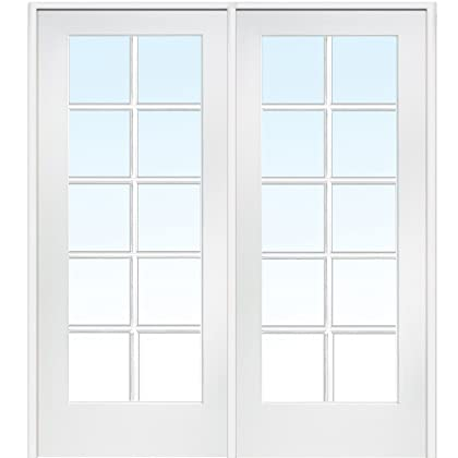 National Door Company Z019950R Primed MDF 10 Lite Clear Glass, Right Hand  Prehung Interior Double ...