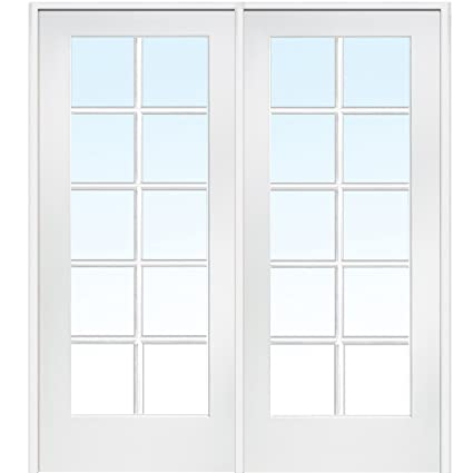 National Door Company Z019950L Primed MDF 10 Lite Clear Glass, Left Hand  Prehung Interior Double