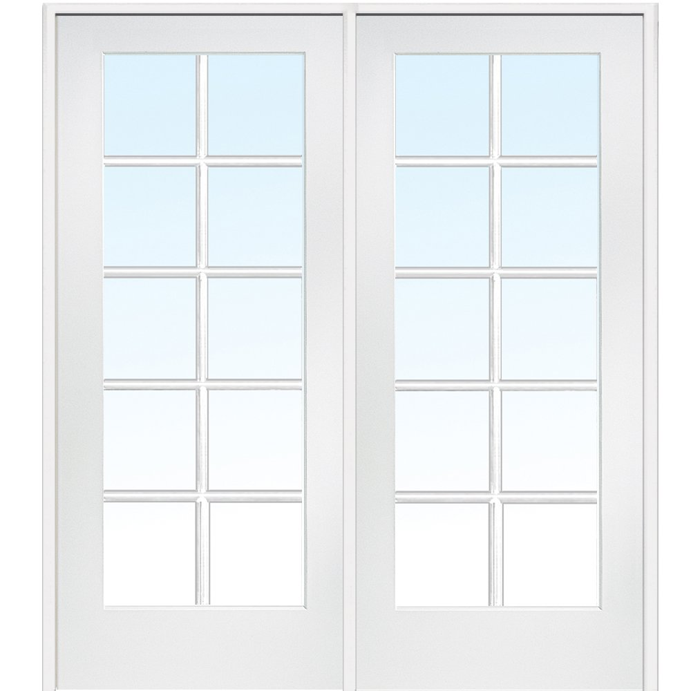 National Door Company Z009304R Primed MDF 10 Lite Clear Glass, Right Hand Prehung Interior Double Door, 60'' x 80''