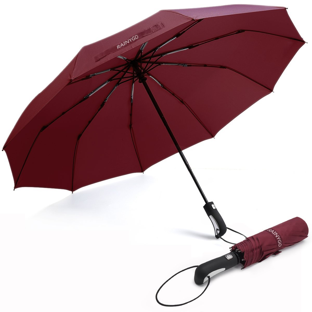 RAINYGO Umbrellas Travel Folding Automatic Umbrella Strong Windproof Compact 210T 10 Ribs Light Weight Auto Open Close