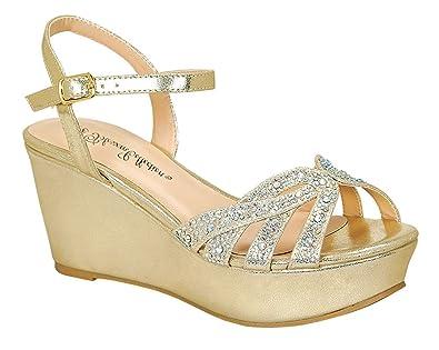 a6bfee3aa1f8 Women s Rhinestone Peep Toe Ankle Strap Platform Wedge Gold 5