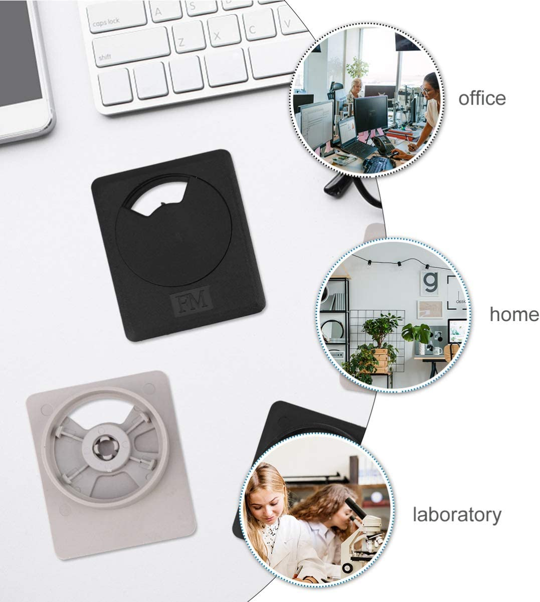 ULTECHNOVO 20pcs Desk Cable Wire Grommets Cord Covers Plastic Plastic Wire Organizers Desk Grommets for Computer Wire Organizer for Home Office Black Gray and White