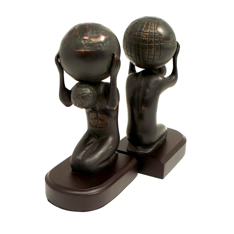 Bey Berk Atlas with Globe Bronze Cast Metal Bookends (Set of 2)