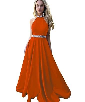 WuliDress Beaded Satin Halter Prom Dress For Women Long 2018 Formal Wedding Evening Party Gown Orange